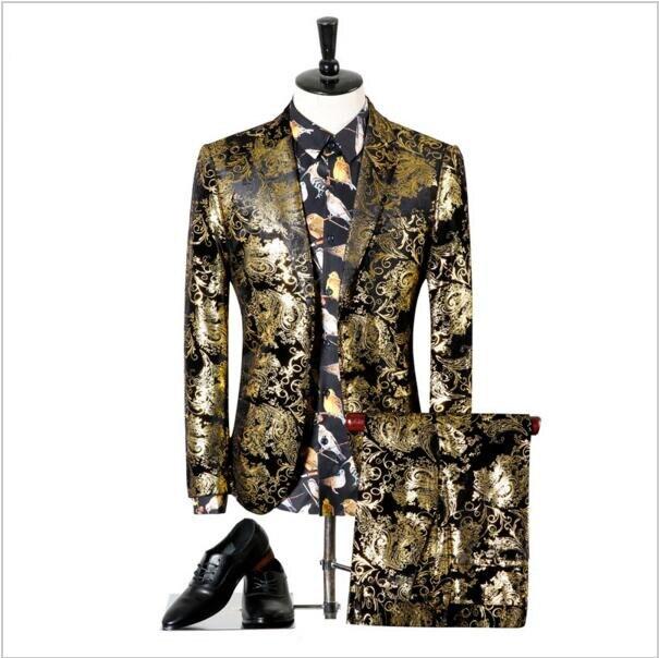Stade Blazer Fit Pantalon Floral Costume Mariage Costumes Golden Imprimé blazer Or Slim Noir Paisley Smoking De Hommes 1AnpqzpB