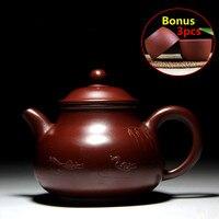 120 ml Keramik Lila Ton Tee-Set Chinesische Handgemachte Teekanne Yixing lila Sand Teekannen Kung Fu Porzellan Wasserkocher Set Bouns 3 Tassen
