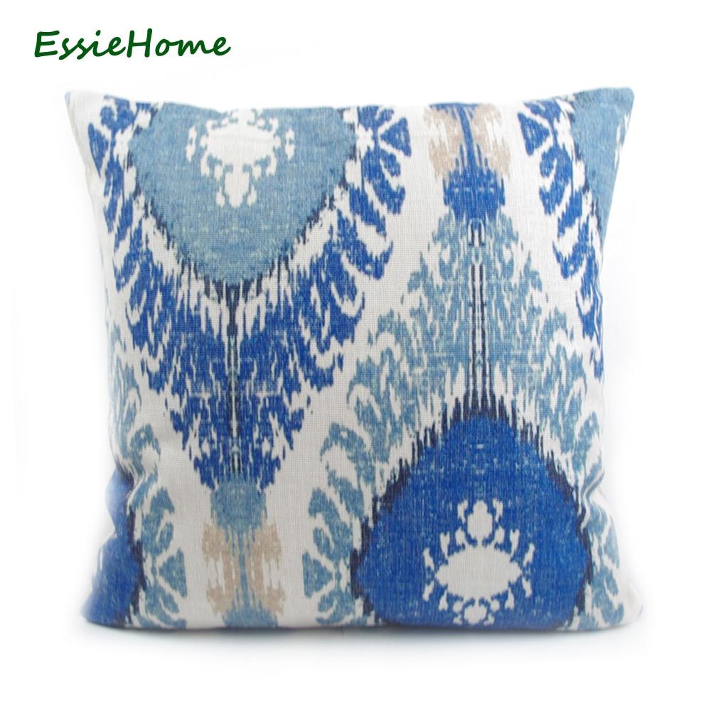 ESSIE HOME Haut de gamme Impression de main Bleu clair Motif Ikat - Textiles de maison - Photo 1