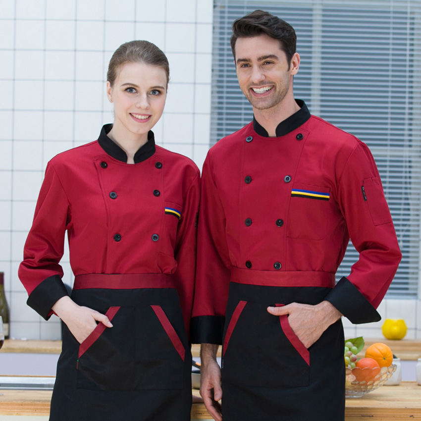 Men Shirt Full Sleeve Autumn Chef Uniform Cook Costumes Dining Hall Restaurant Free Print Breathable Food Service Men Tops