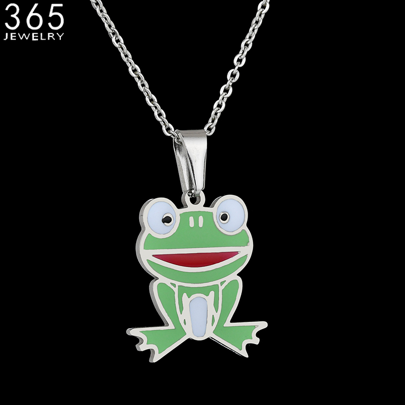 Pretty Jewelry Stainless Steel Green Frog Necklace Cute Animal Pendant Necklace For Women Girls Drop Shipping