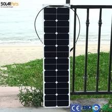 ETFE Solarparts 1 UNIDS 50 W módulos de paneles solares flexibles para barco de pesca/lámpara/cargador con caja de conexiones MC4 conector