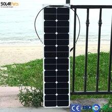 Solarparts 1 STÜCKE 50 Watt ETFE flexible solarzellen module für fischerboot/lampe/ladegerät mit anschlussdose mc4-stecker