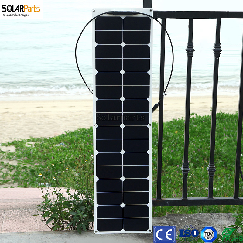 Solarparts 50W ETFE flexible sunpower solar panel black long modules fishing boat lamp charger with junction box MC4 connector