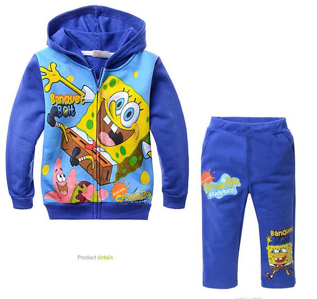 Nueva Primavera Otoño Ropa para Niños Juegos de Dibujos Animados Bob Esponja Niños Deportes Traje de Bebé Niños Coat + Pants 2 unids Ropa de Los Cabritos conjunto CFC021
