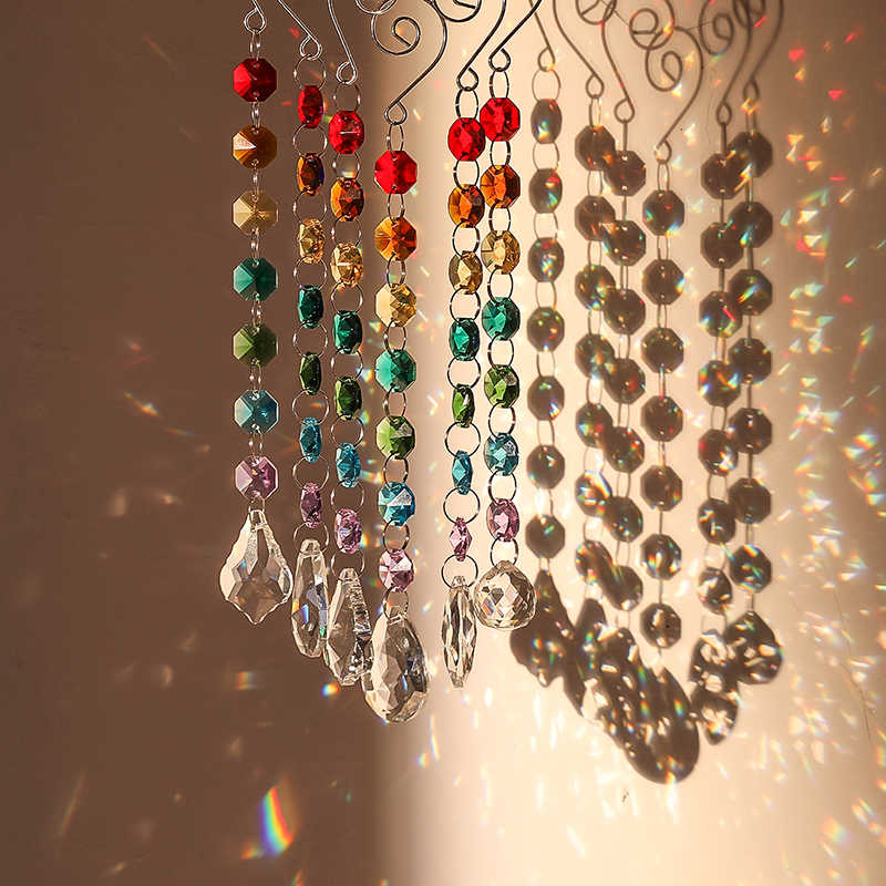 H & D Chakra cristal prismes Suncatcher avec Multi octogone perles fenêtre suspendus ornements arc-en-ciel fabricant Collection décor, paquet de 6