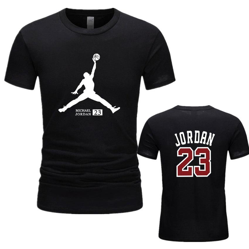Summer Men   T  -  Shirt   Fashion Jordan 23 Brand Logo Print Cotton   T     Shirt   Men Trend Casual Short Sleeve Tshirt Tops Newest 2019