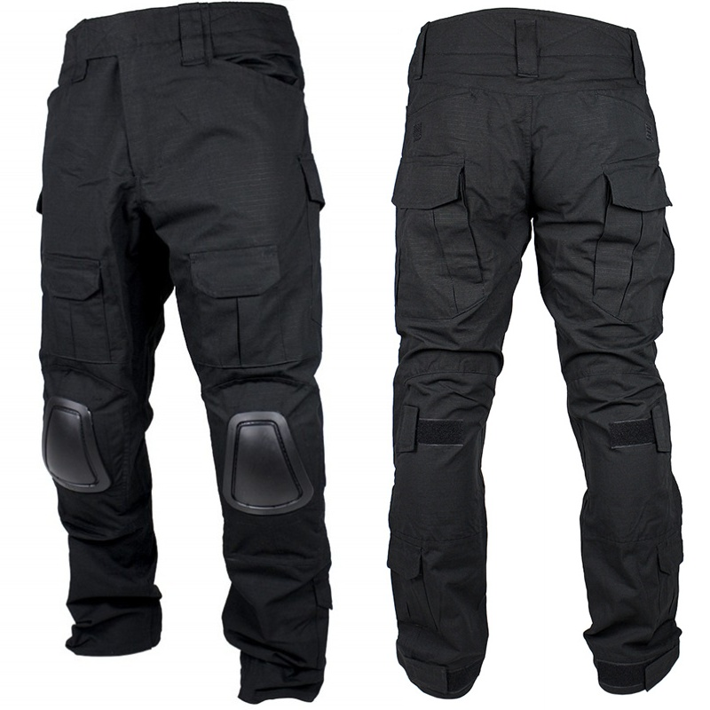 Combat-Pants Hunting-Trousers Tactical-Gear Battlefield Knee-Pads Military Airsoft Black