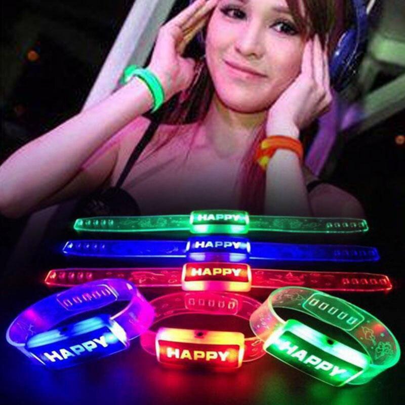Светодиодные светсветодиодный ящиеся вспышки браслет ремешок унисекс модный счастливый письмо гибкий браслет запястье манжеты браслет для взрослых детей