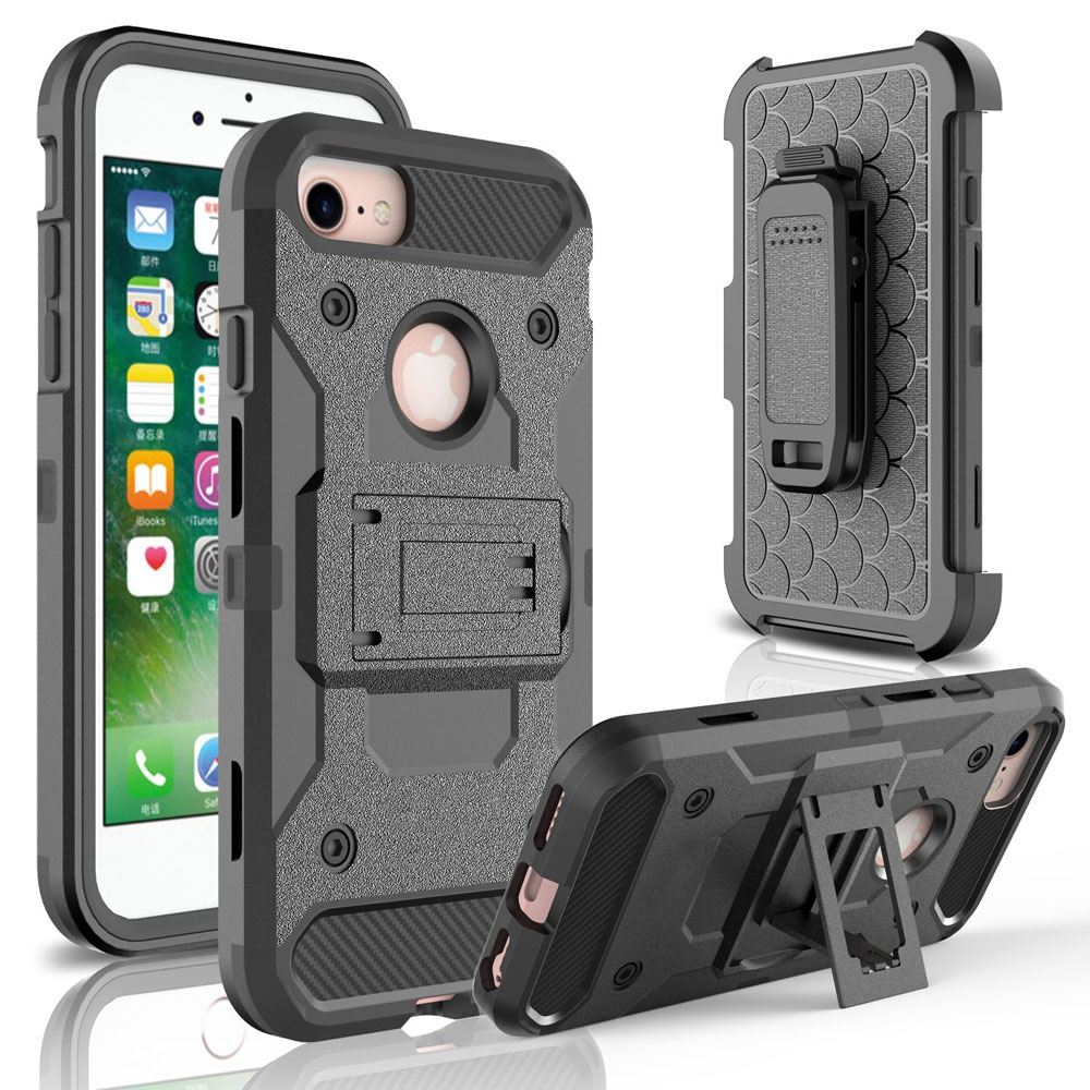 4 in 1 Heavy Duty Hybrid Durable Armor Case Shockproof Holster+Belt Clip 360 Kickstand Hard Cover For Apple iPhone 7 / 7 Plus @