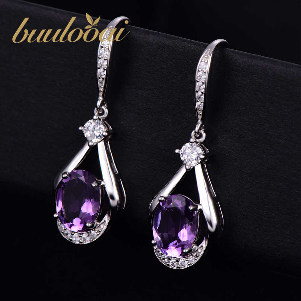 buulooai Solid 925 Sterling Silver Drop Earrings For Women Amethyst Gemstone Wedding Engagement Fine Jewelry Valentine's Gift