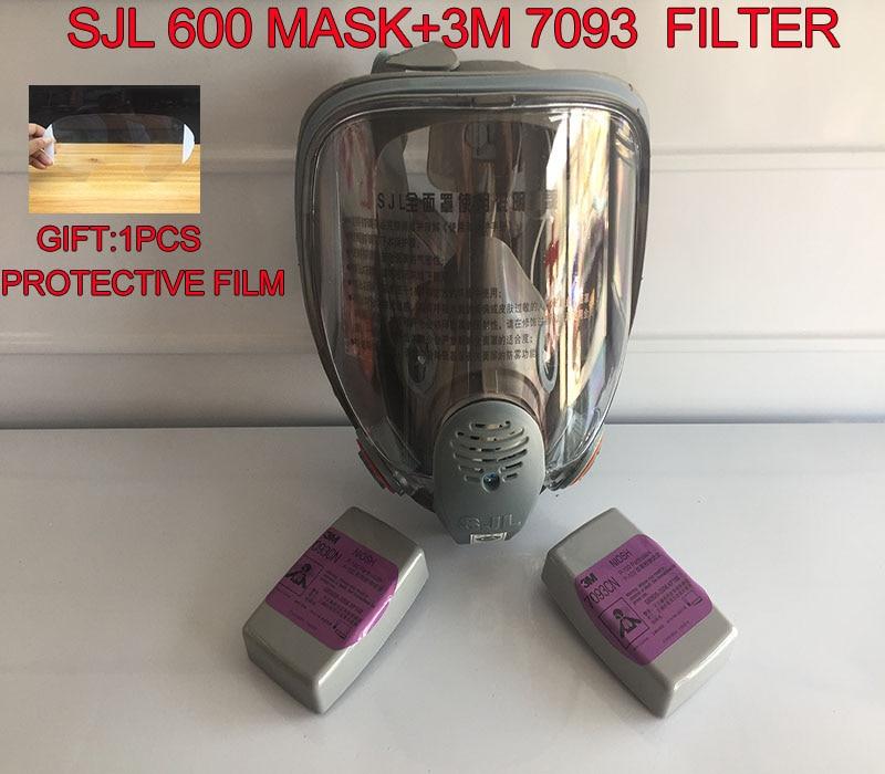 1PCS SJL 600 mask + 2PCS 3M 7093 CN filter high quality Sturdy durable Respirator full mask For dust Smoke welding gas mask