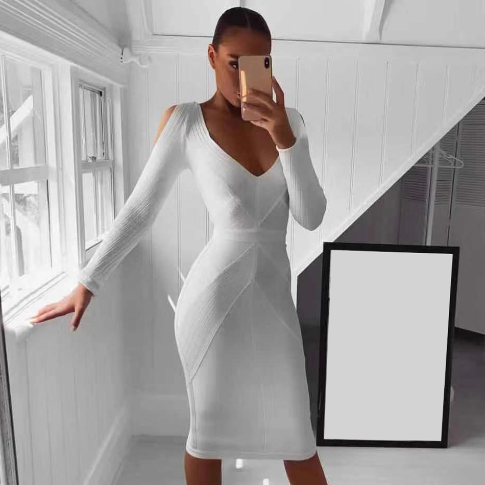Seamyla 2019 New Bandage Dress Vestidos Women White Long Sleeve Evening Party Dresses Sexy Bodycon Summer