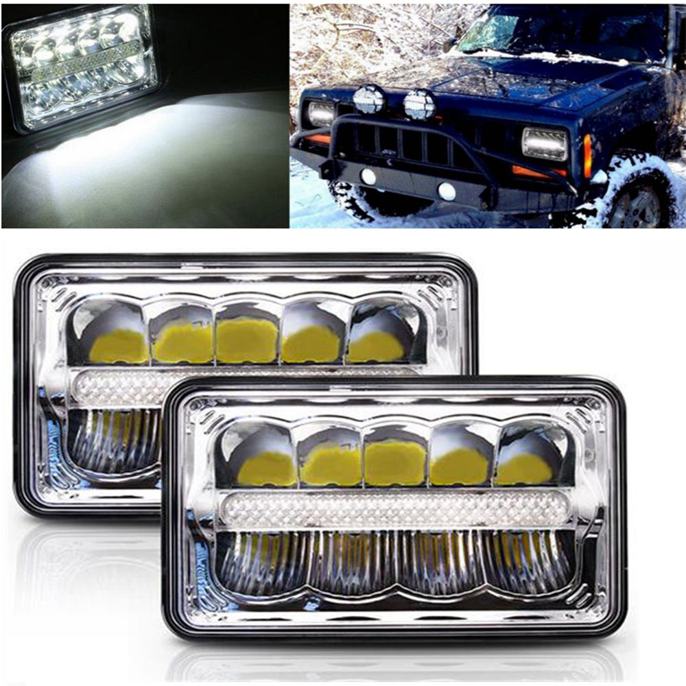 Car Styling Square LED Headlight HI/LO DRL high low beam square led headlight for Jeep for Ford Chevy Camaro Iroc-z Chevrolet co light 4x6 led headlight 2pcs 45w 3825lm 25w 2125lm high low h4 lamp car led light for gmc chevrolet camaro kenworth daf