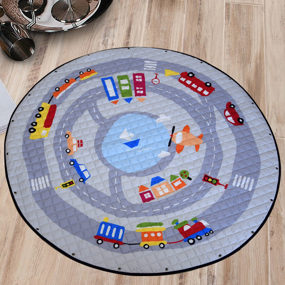 Svetanya Cars Fox Toys Storage Bag Child Game Mats Diameter 1.46m Baby  Crawling Floor Round Blanket Parlor Play Rug/Mat