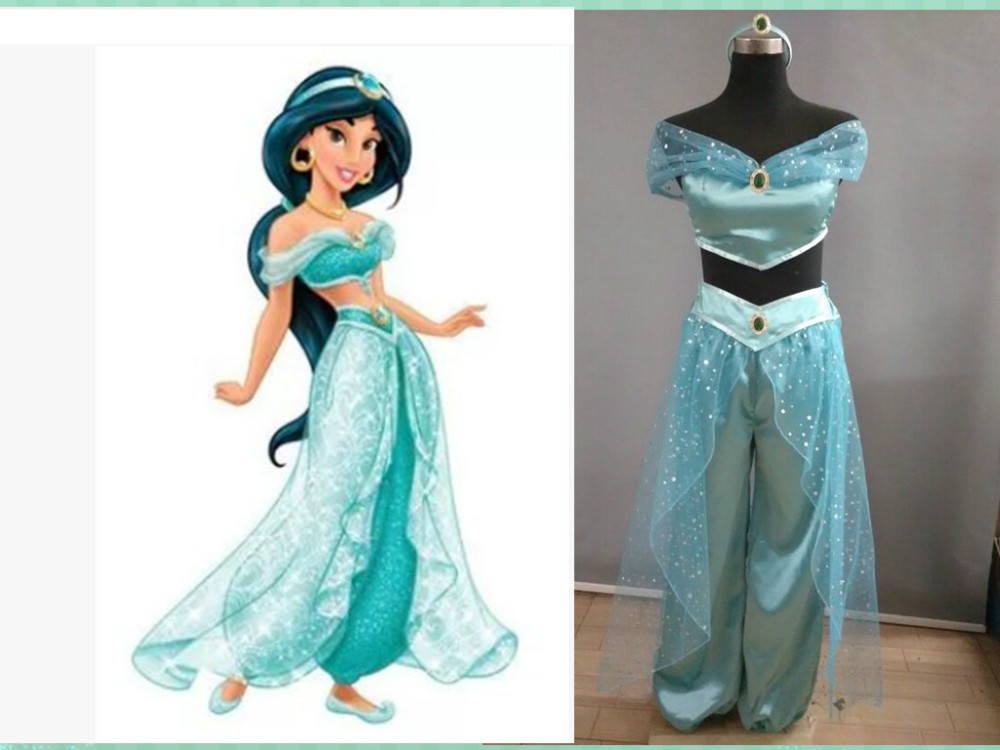 Free shipping Cosplay  Aladdin Jasmine Dress for Party cosplay Costumes set For Women/ Kids for christmas