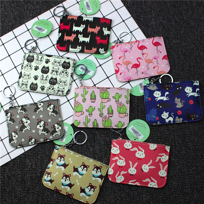 PACGOTH New Cartoon Prints PU Leather Coin Purse Card Cash Money Holders Preppy Style Kawaii Printed Pouches Bags 1 PC