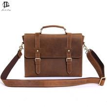 Brand Retro Crazy Horse Genuine Leather Men's Classic Messenger Shoulder Bag Casual Travel Laptop Notebook Business Bags