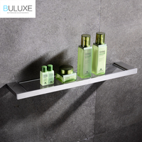 BULUXE European Single Tier Glass Bathroom Shelf Wall Mounted Brushed Stainless Steel Tempered Glass Bathroom Accessories IFG720