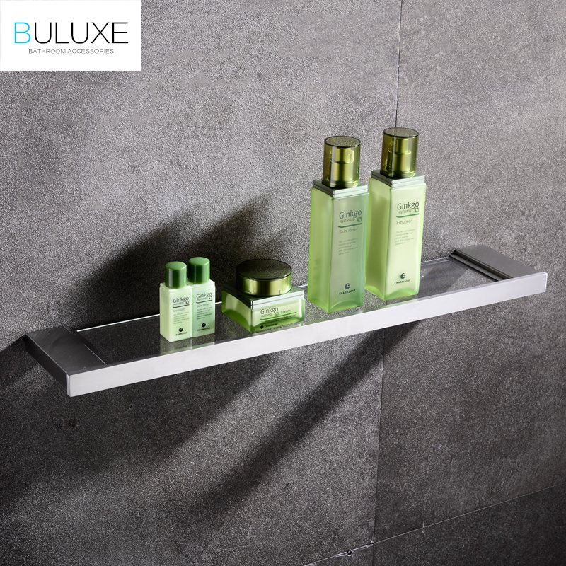 BULUXE European Single Tier Glass Bathroom Shelf Wall Mounted Brushed Stainless Steel Tempered Glass Bathroom Accessories IFG720 free shipping golden single bathroom shelf glass shelf brass made base glass shelf bathroom hardware bathroom accessories 67011