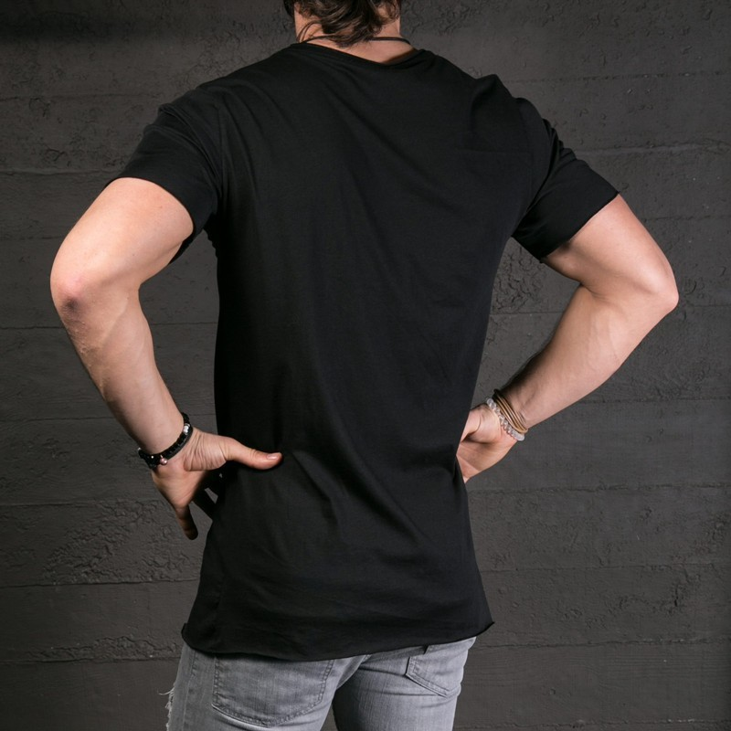 Men Long Side Zipper O Neck Short Sleeve tshirt