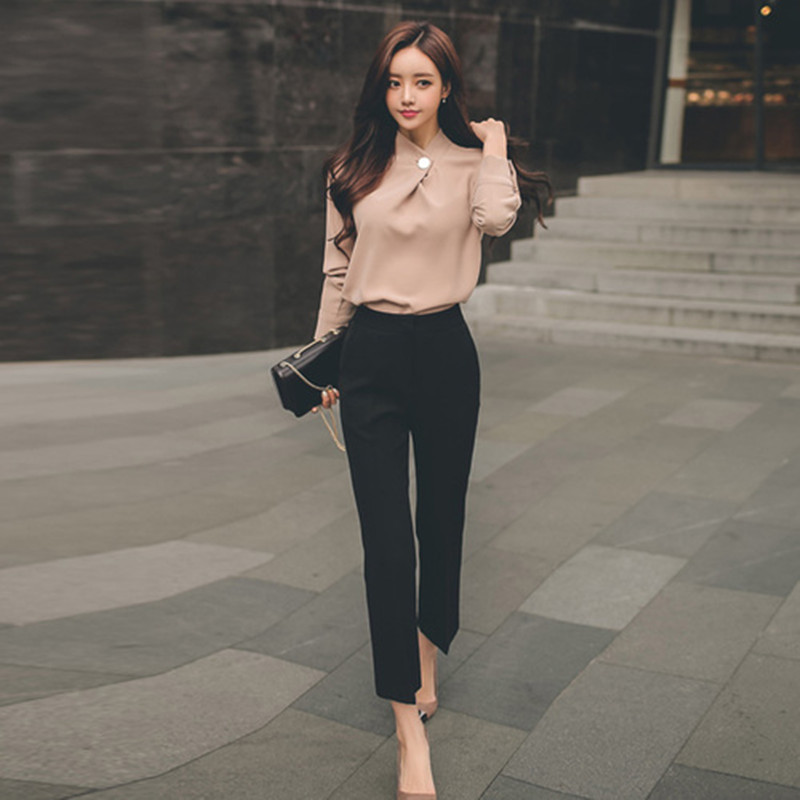ZAWFL High Quality 2019 Autumn Women 2 Pieces Set Blouse Shirt Suit + Wide Leg Pants OL Office Lady Working Slim Women Sets