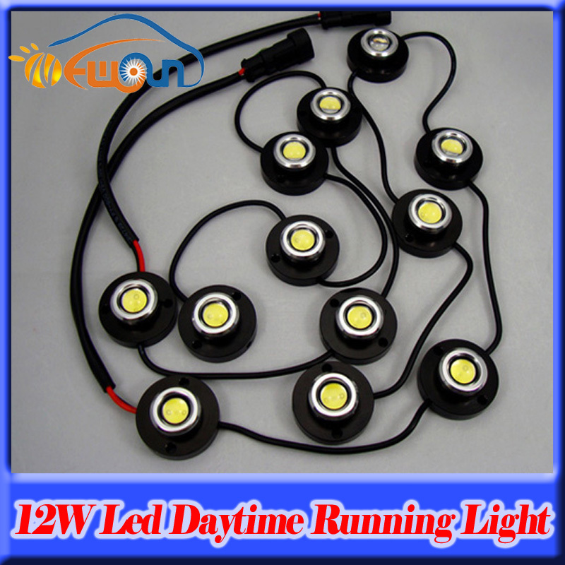 1Wx12/12W Ultra bright LED Eagle Eye Light Car Motorcycle Lamp DRL Driving Daytime Running Tail Backup Fog Headlight Waterproof  9w red high power led eagle eye under car body lamp drl fog light 9w motorcycle 6pcs lot free shipping