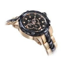 Kanishi hombres 2095 Pro Diver Colección Cronógrafo Negro-Plateado Reloj con banda de Oro