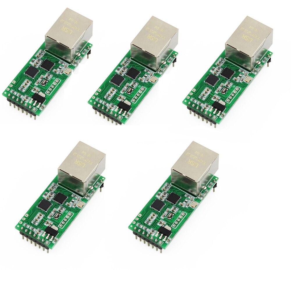 Q18042 5 5PCS USR TCP232 T2 Tiny Serial Ethernet Converter Module Serial UART TTL to Ethernet