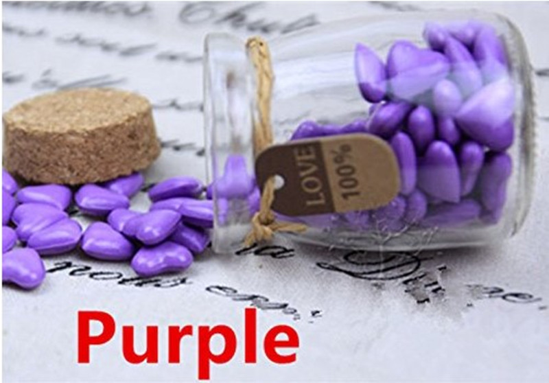 Vintage 90pcs Purple Heart Shape Bottled Glass for Wax Seal Sealing Stamp Wedding Invitations Adhesive Wax Sticks Beads