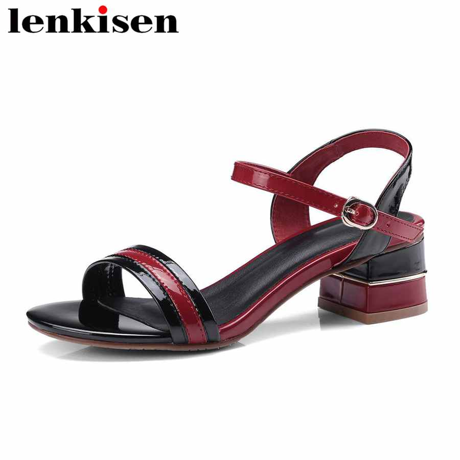 Lenkisen 2018 pu med square heels peep toe mixed colors casual shoes buckle strap office lady large size women cozy sandals L6f6