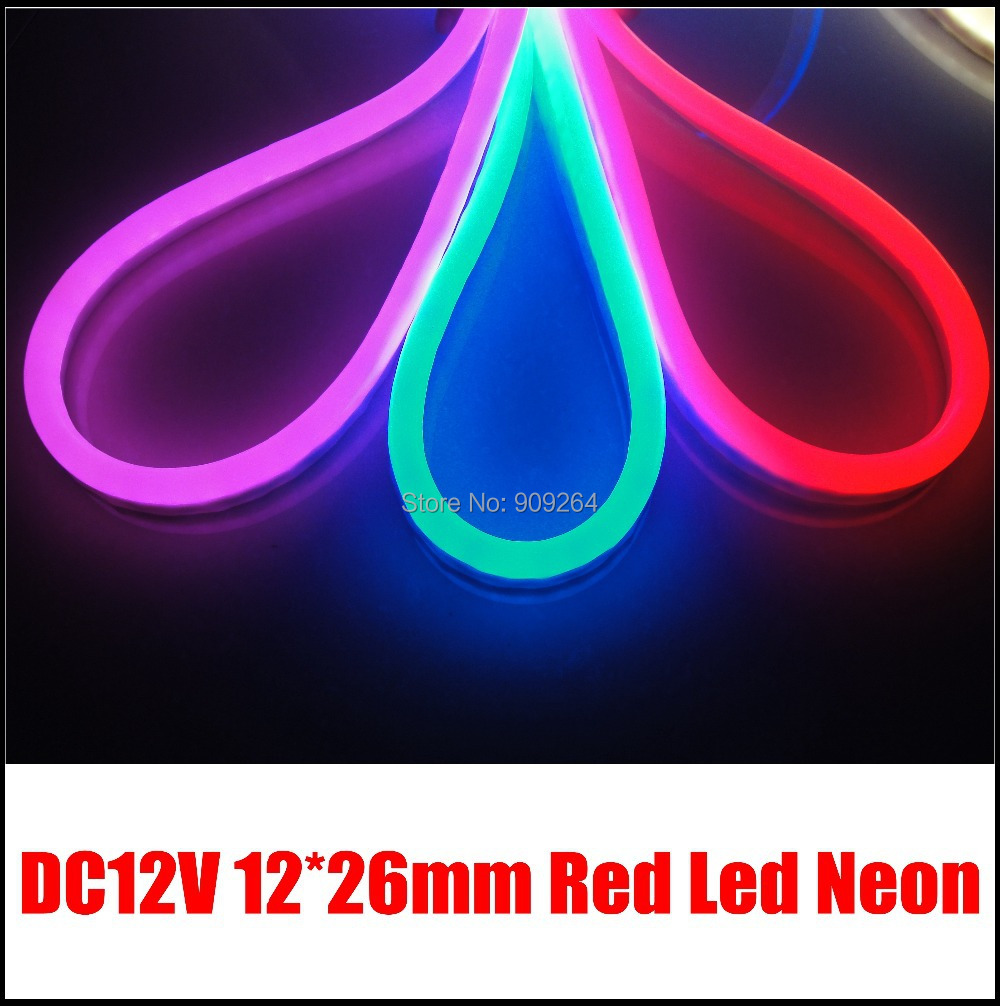 DC12V Red light neon flex for outdoor decoration,neon letter sign,80leds per meter neon,short cutting place,10M/Lot, image