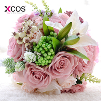New Arrival 2018 Pink Rose Lily Wedding Bouquet Handmade Artificial Flower Bridal Bouquet For Wedding Decoration