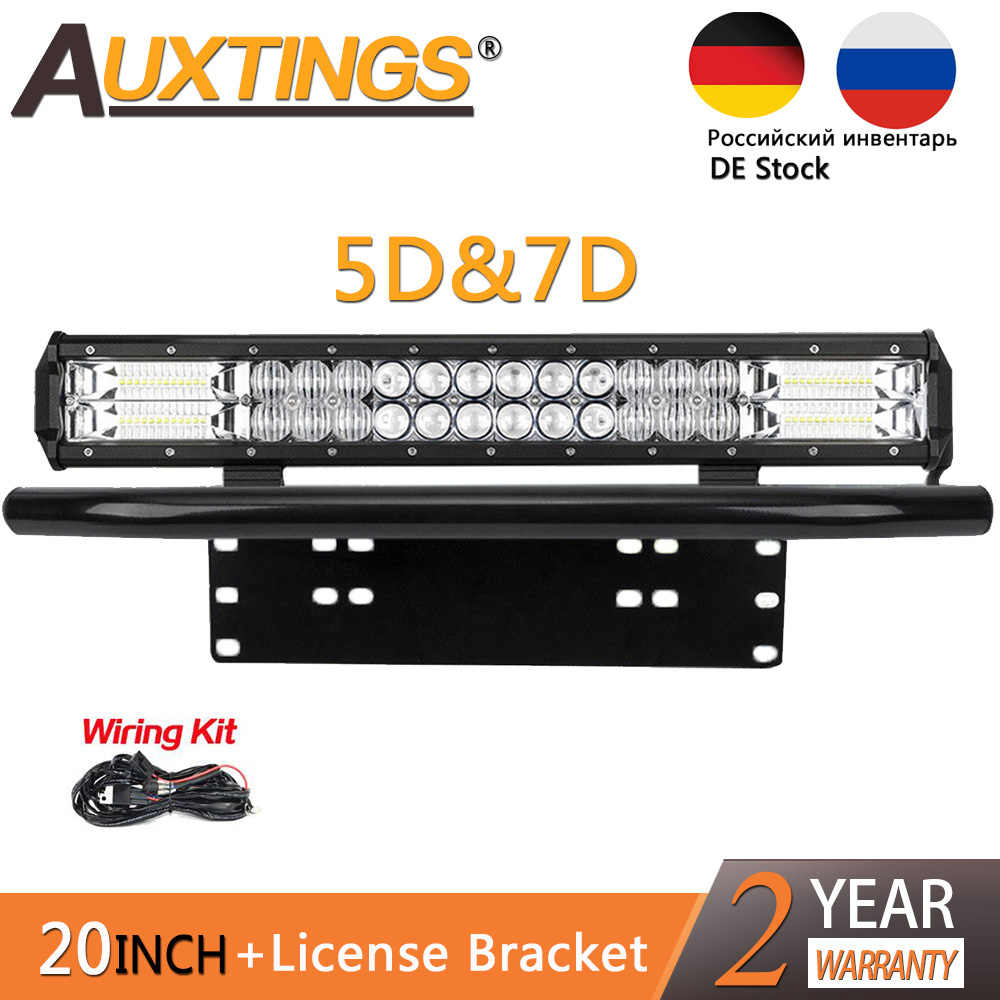 "Auxtings 8D 20inch 20'' 216w Dual Row Car Light Led Bar &23"" Number Plate Frame Mount Bracket For Auto Jeep 4X4 SUV 12V 24V"