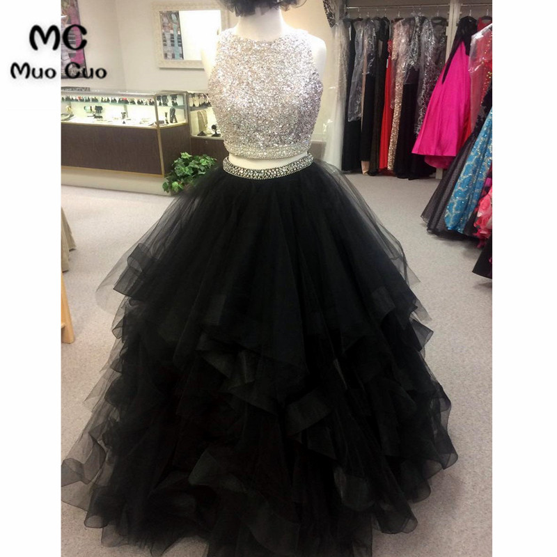 Sparkly 2019 Prom dresses Long with Crystals Two Pieces Gown Ball Gown Ruffles graduation dresses Evening Prom Dress for Women