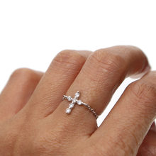 2019 High quality 925 sterling silver cute delicate Faith Cross women jewelry pave tiny CZ dainty adjust chain girl fashion Ring(China)