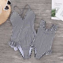 2019 Family Matching Clothes Swimsuit Striped Slings Siamese Mother and Daughter Swimwear Mommy And Me Bikinis