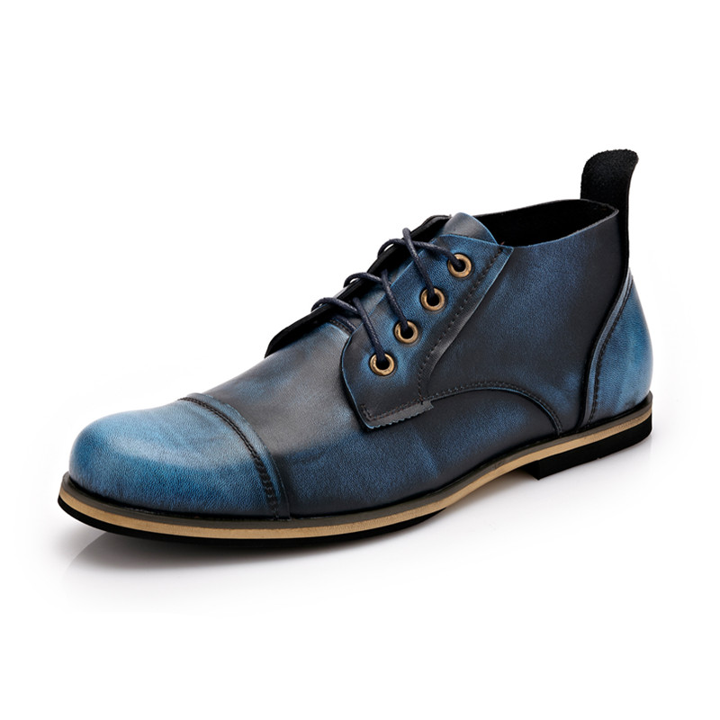 2017 Men Vintage Shoes Spring Men Boots Autumn Genuine Leather Footwear For Man High Top Casual Ankle shoes Men Big Size 38-47 new arrival girl full leather boots spring autumn casual snow high top genuine leather boots women shoes a443
