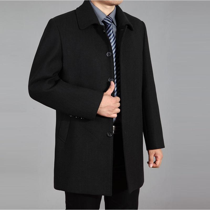 2019 abrigo de lana de alta calidad para hombre otoño invierno abrigo de lana chaqueta de lana abrigo de guisante para hombre abrigo largo de invierno Homme plus tamaño 7XL - 3