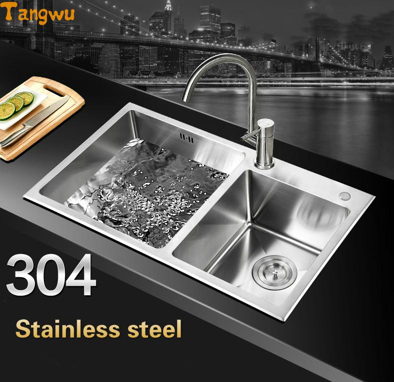 NEW Bathroom Hand Sink Double Trough Package 304 Stainless Steel Kitchen  Dishes Wash Basin With Leading