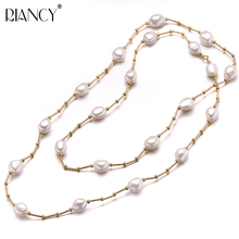 High Quality Fashion white Long Pearl Necklace Baroque Natural Freshwater Pearl Pearl Jewelry For Women Necklace Accessories jew2605 baroque white reborn keshi pearl necklace a0329