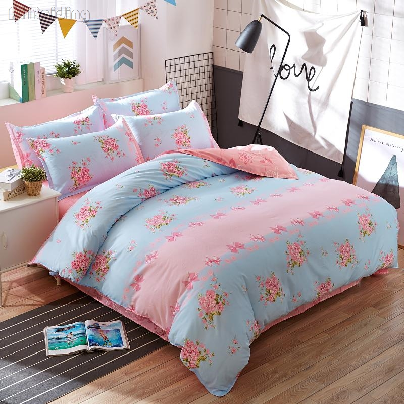 New Design Beauty Pink Floral Bow-knot Printing Bedding Sets Girls Women Kids Cotton Bed Linen Bedclothes Twin Full Queen King
