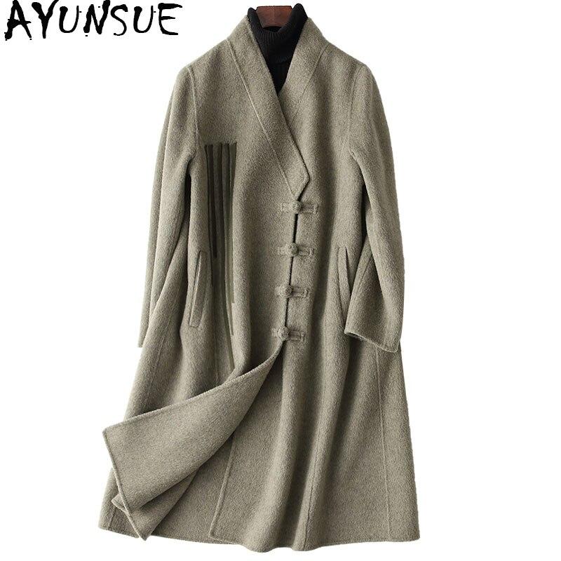 AYUNSUE 2018 Printemps Nouveau Femmes Laine Manteau Alpaga Cachemire Manteaux de Femmes Automne Hiver Femelle Veste casaco feminino 38502 WYQ1189