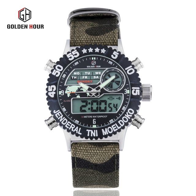 AAA watches luxury men automatic Luxury Nylon Canvas Strap Men's Military Sports Digital Watches Waterproof Man Wristwatches