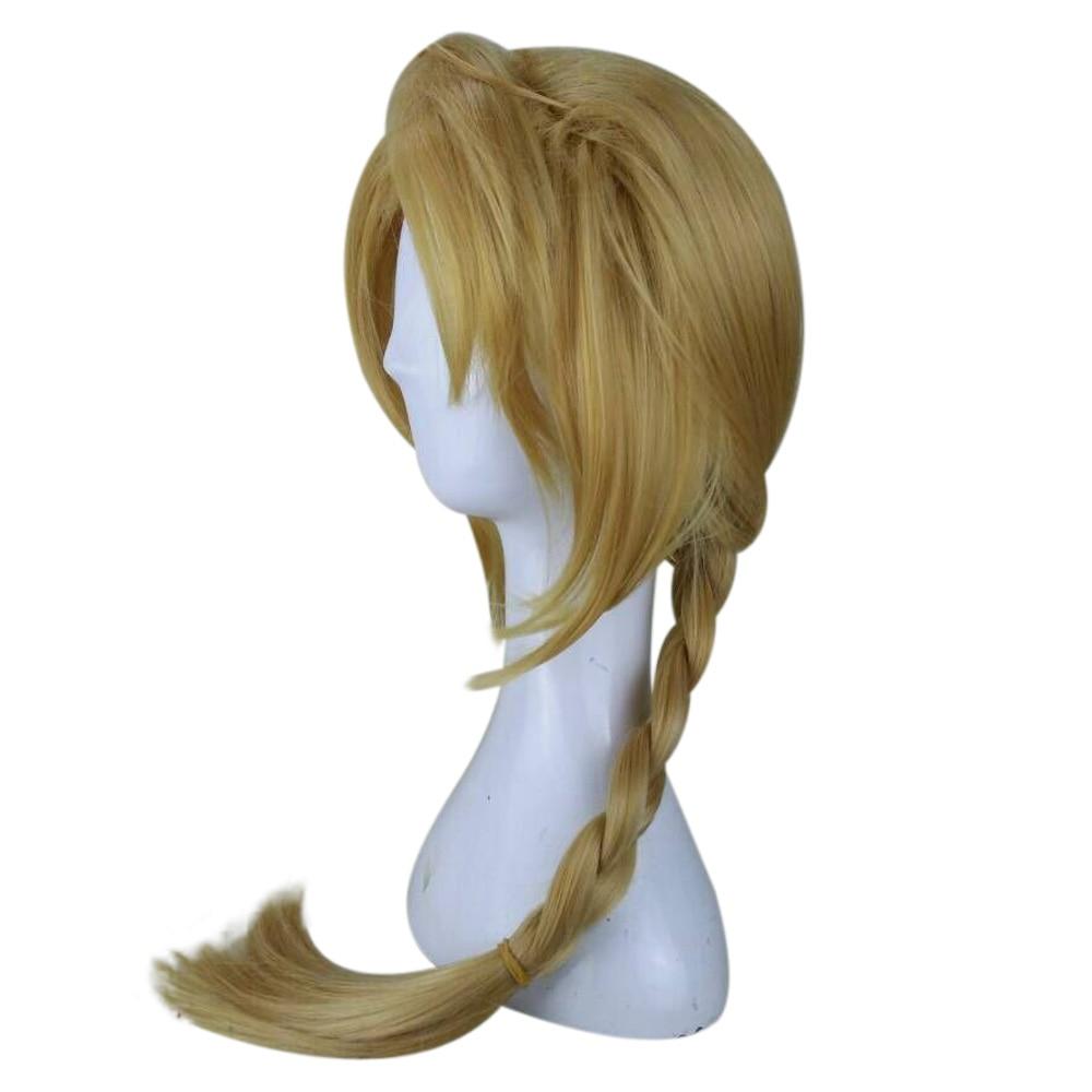 HAIRJOY Fullmetal Alchemist Edward Elric Blonde Cosplay Wig Curly Braided Synthetic Hair High Temperature Fiber Free Shipping 2
