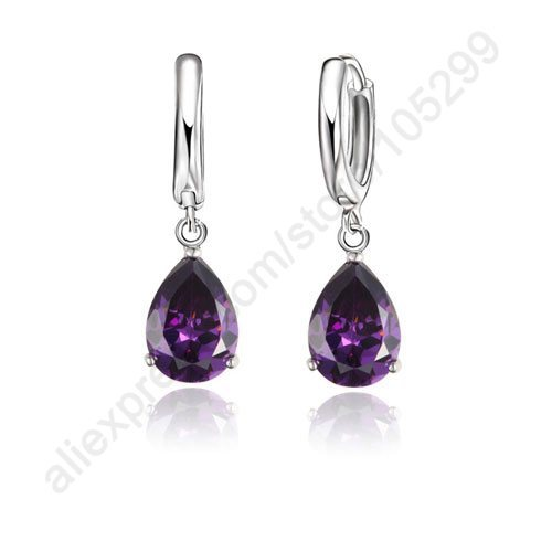Earrings Realistic Patico Purple Water Drop Shining Cz 925 Sterling Silver Hoop Earrings Fashion Earrings For Women 925 Lever Back To Clear Out Annoyance And Quench Thirst Jewelry & Accessories