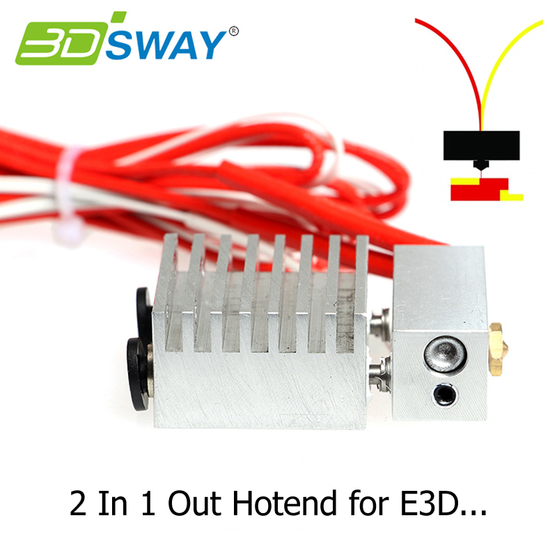 3D Printer Part Cyclops 2 In 1 Out Hotend remote extruder Dual Color Switching Hotend for 0.4mm Nozzle 1.75mm Filament All metal cyclops 2 in 1 out switching hotend multi extrusion color 3d extruder 0 5mm nozzle for 1 75mm filament