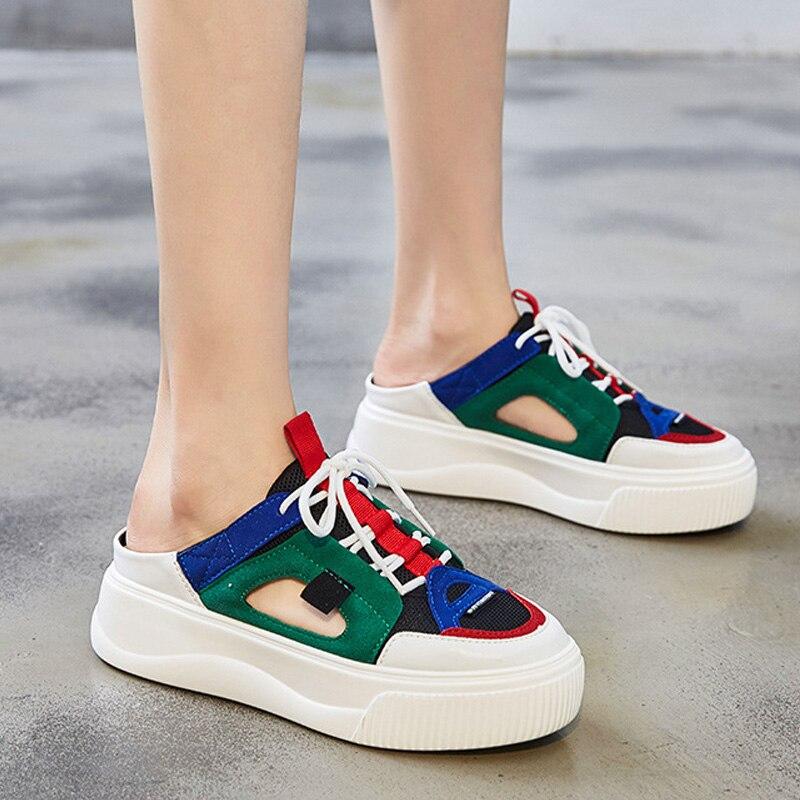 VTOTA décontracté appartements plate-forme extérieure à lacets pantoufles d'été femme mocassins chaussures plates femmes baskets zapatillas mujer
