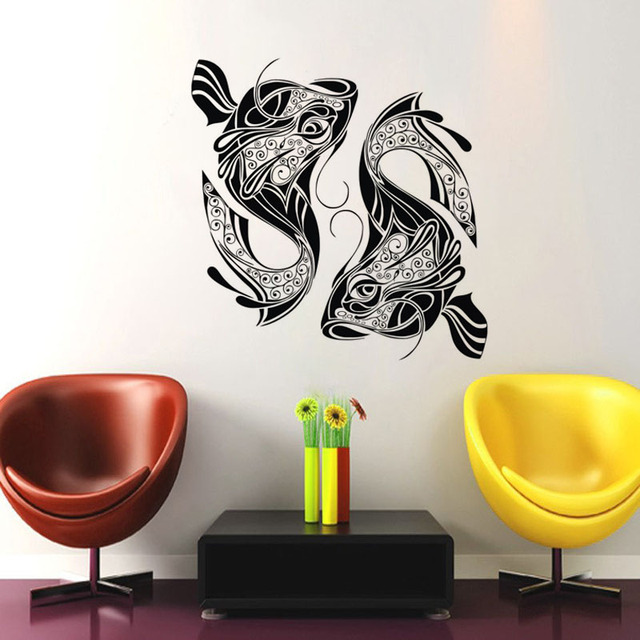 Doubles Fish Wall Stickers Home Decor Living Room TV Set Background Wall  Decals Animals Vinyl Art