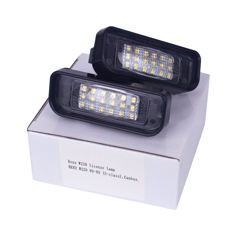 HengChiLun 2PCS 12V 6000K License Plate Light LED Number Plate Light For Mercedes Benz W220 CLK Tail Light Assembly обвес на mersedes clk w 208